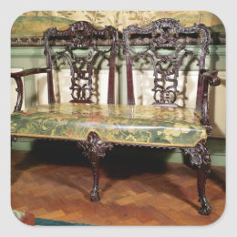 Carved sofa, with tapestry seat, similar to square sticker