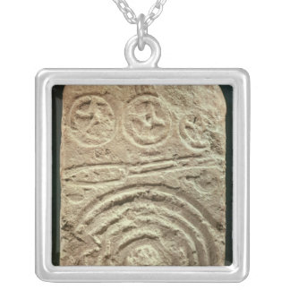 Carved Stele Silver Plated Necklace
