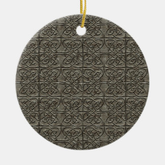 Carved Stone Connected Ovals Celtic Pattern Ceramic Ornament