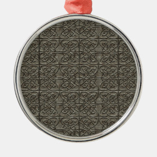 Carved Stone Connected Ovals Celtic Pattern Metal Ornament