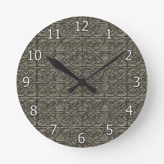 Carved Stone Connected Ovals Celtic Pattern Round Clock