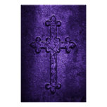 Carved Stone Gothic Cross in Purple Poster