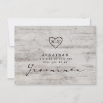 Carved Sweethearts Be My Groomsman Proposal Card