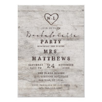 Carved Sweethearts Rustic Birch Bachelorette Party Invitation