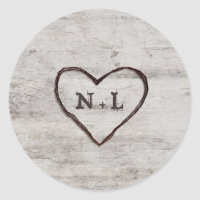Carved Sweethearts Rustic Birch Monogram Wedding Classic Round Sticker