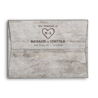 Carved Sweethearts Rustic Birch Monogram Wedding Envelope
