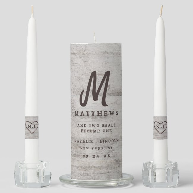 Carved Sweethearts Rustic Birch Wedding Monogram Unity Candle Set