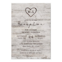 Carved Sweethearts Rustic Birch Wedding Reception Invitation