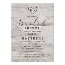 Carved Sweethearts Rustic Birch Wood Bridal Shower Invitation