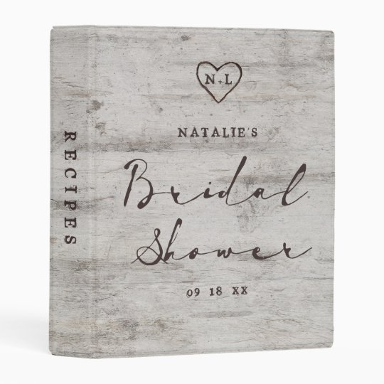 Carved Sweethearts Rustic Bridal Shower Recipe Mini Binder