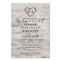 Carved Sweethearts Rustic Wedding Rehearsal Dinner Invitation