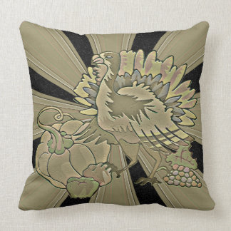 Carved Thanksgiving Turkey - Throw Pillow