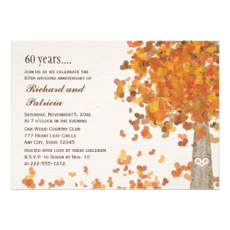 Carved Tree 60th Anniversary Photo Invitations