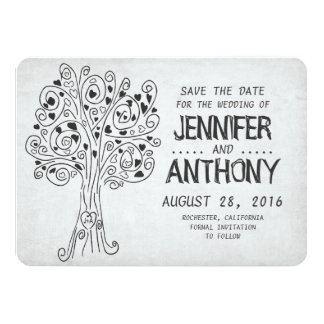 carved tree cute romantic save the date card