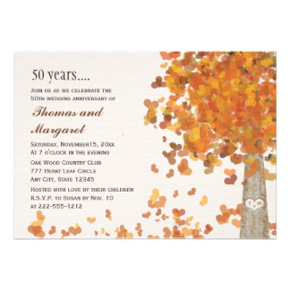 Carved Tree Fall 50th Anniversary Photo Invitation Personalized Invites