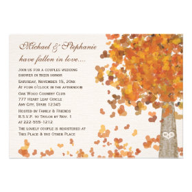 Carved Tree Fall Couples Shower Invitations Personalized Announcements