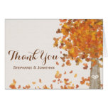 Carved Tree Initials Fall Wedding Thank You Cards