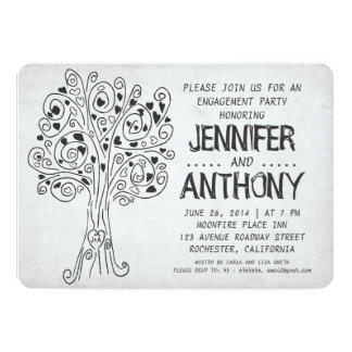 carved tree modern engagement party invitations