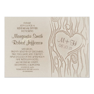 carved tree rustic rehearsal dinner invitations