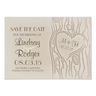 carved tree rustic save the date cards