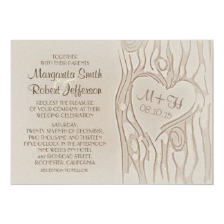 carved tree rustic wedding invitations