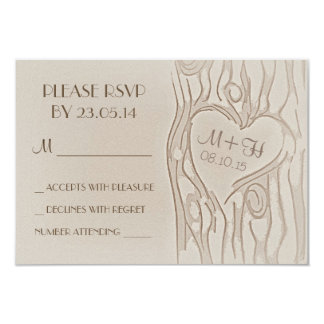 carved tree rustic wedding RSVP cards