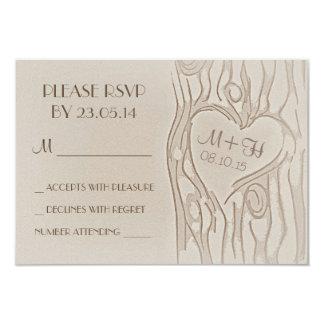 carved tree rustic wedding RSVP cards