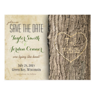 Carved Tree Save the Date Postcard