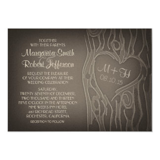 carved tree vintage wedding invitations