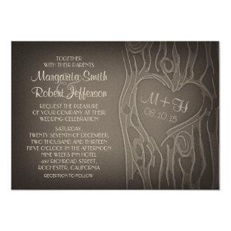 carved tree vintage wedding invitations