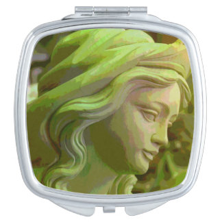 Carved Woman's Face Makeup Compact Mirror