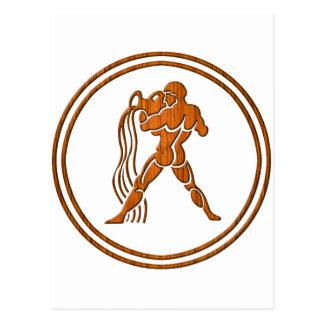 Carved Wood Aquarius Zodiac Symbol Postcard