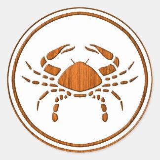 Carved Wood Cancer Zodiac Symbol Classic Round Sticker