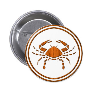 Carved Wood Cancer Zodiac Symbol Pinback Button