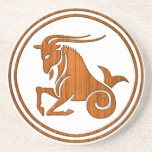 Carved Wood Capricorn Zodiac Symbol Coaster