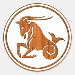 Carved Wood Capricorn Zodiac Symbol Round Sticker