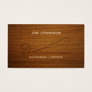 Carved Wood Chisel Woodworking Carpentry Business Card