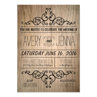 Carved Wood Country Rustic Wedding Invitation