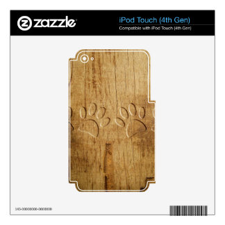 Carved Wood Dog Paw Print Skins For iPod Touch 4G