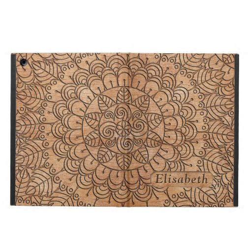 Carved Wood Floral Circles Mandala Personalized Case For iPad Air
