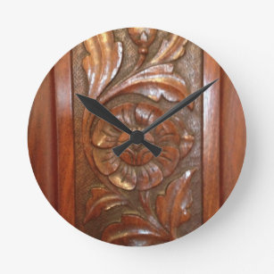 Wood carving wall clocks zazzle
