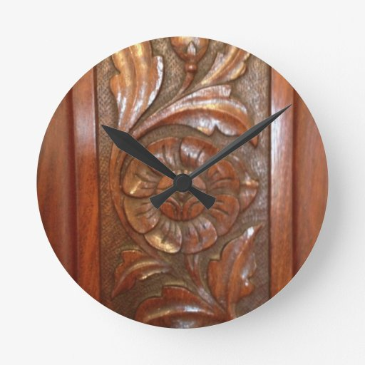 Carved wood flower filigree pattern round clock zazzle