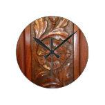 carved wood flower filigree pattern wallclocks