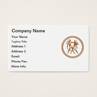 Carved Wood Gemini Zodiac Symbol Business Card