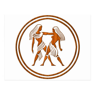 Carved Wood Gemini Zodiac Symbol Postcard