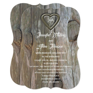 Carved Wood Heart Post Wedding Reception Invitation
