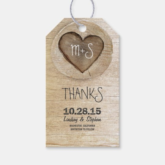 Country Wedding Gift Ideas: Carved Wood Heart Rustic Country Wedding Gift Tags