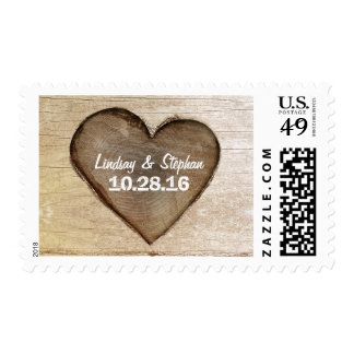 Carved Wood Heart Rustic Country Wedding Postage