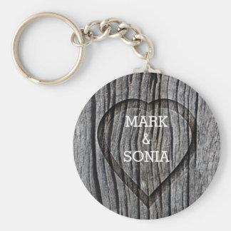 Carved Wood Heart Rustic Wedding Keychain