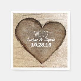 Carved Wood Heart Rustic Wedding Napkin